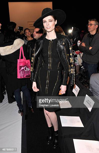 Model Coco Rocha attends the Herve Leger By Max Azria fashion show during MercedesBenz Fashion Week Fall 2014 at The Theatre at Lincoln Center on...