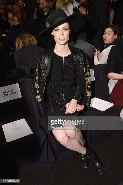 Model Coco Rocha attends the Herve Leger By Max Azria fashion show during Mercedes-Benz Fashion Week Fall 2014 at The Theatre at Lincoln Center on...