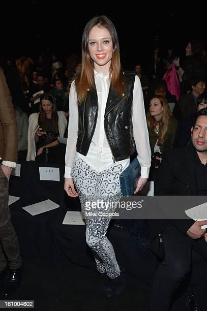 Model Coco Rocha attends the Rebecca Minkoff Fall 2013 fashion show during MercedesBenz Fashion at The Theatre at Lincoln Center on February 8 2013...