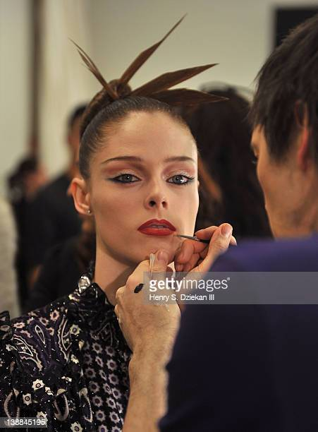 Model Coco Rocha backstage at the Zac Posen Fall 2012 fashion show during MercedesBenz Fashion Week at the David Koch Theatre at Lincoln Center on...