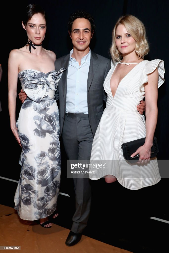Model Coco Rocha designer Zac Posen and actress Jennifer Morrison pose backstage for the Marchesa fashion show during New York Fashion Week: The Shows at Gallery 1, Skylight Clarkson Sq on September 13, 2017 in New York City.