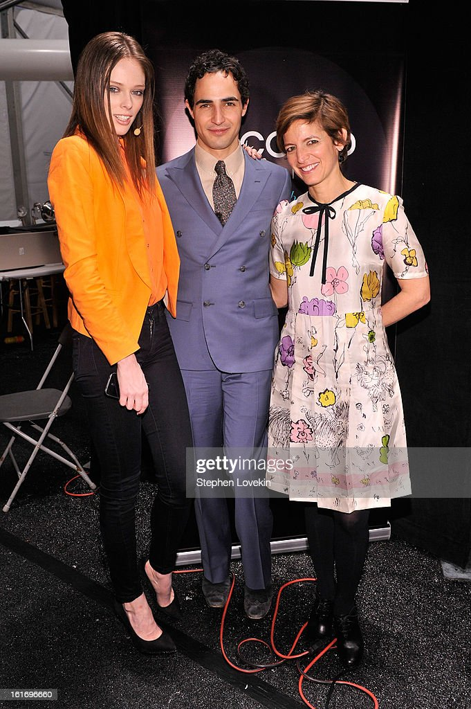 Model Coco Rocha, designer Zac Posen and Glamour editor-in-chief Cindi Leive attend The Decoded Fashion Forum & Hackathon Finale Fall 2013 fashion show during Mercedes-Benz Fashion Week at The Stage at Lincoln Center on February 14, 2013 in New York City.