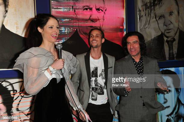 Model Coco Rocha founder of the Lakay Pam charity Cedrick Roche and the President of Opera Gallery Eric Allouche attend the Lakay Pam Hearts for...