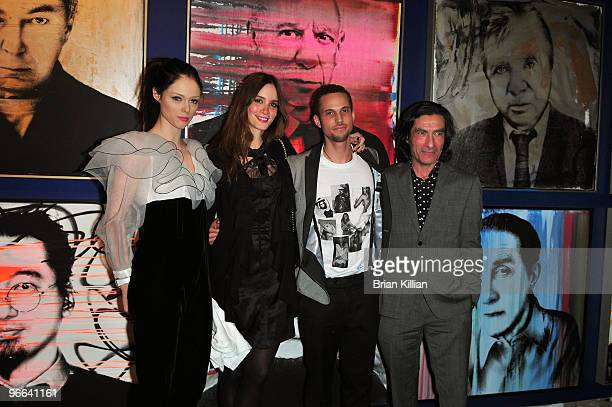 Model Coco Rocha founders of the Lakay Pam charity Carolina Bittencourt and Cedrick Roche and the president of the Opera Gallery Eric Allouche attend...
