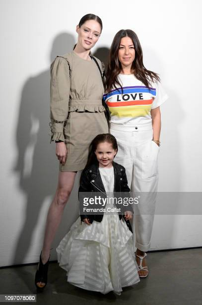 Model Coco Rocha Ioni James Conran and Designer Rebecca Minkoff pose backstage before Rebecca Minkoff fashion show during New York Fashion Week The...
