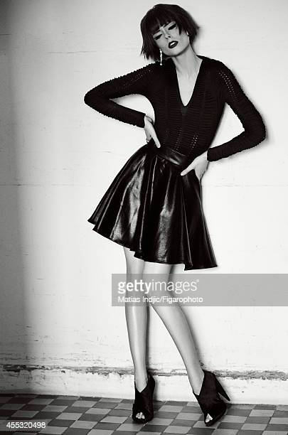 Model Coco Rocha is photographed for Madame Figaro on May 29 2014 in Paris France Body skirt jewelry shoes Makeup by LOreal Paris PUBLISHED IMAGE...