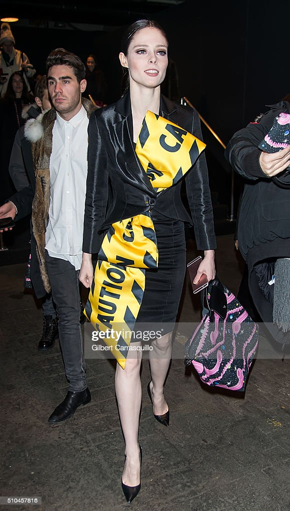 Model Coco Rocha is seen outside the Jeremy Scott Fall 2016 fashion show during New York Fashion Week: The Shows at The Arc, Skylight at Moynihan Station on February 15, 2016 in New York City.