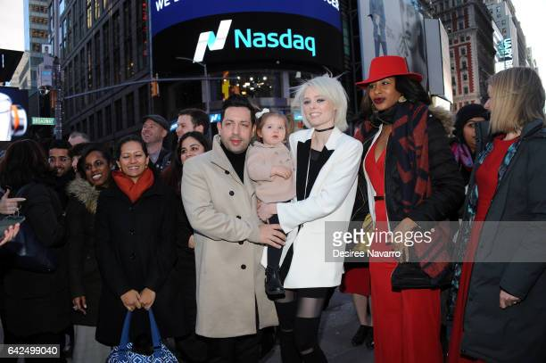 Model Coco Rocha James Conran and daughter Ioni James Conran ring The Nasdaq Closing Bell at NASDAQ on February 17 2017 in New York City