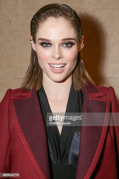 Model Coco Rocha poses backstage after the Zac Posen fashion show at Vanderbilt Hall at Grand Central Terminal on February 16 2015 in New York City