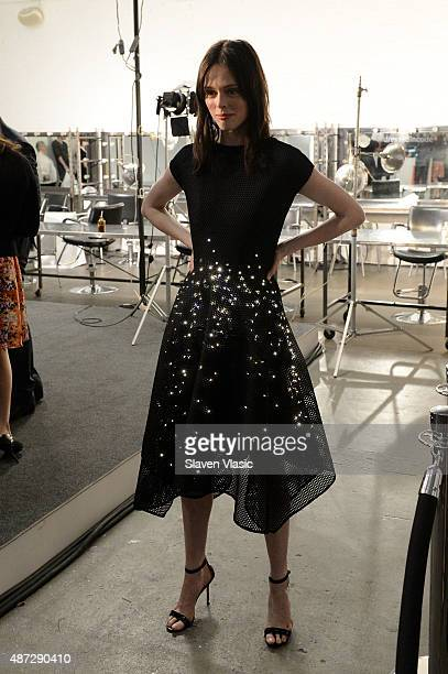 Model Coco Rocha poses backstage in the Google Made With Code LED Dress at the ZAC Zac Posen SS16 NYFW show in partnership with Google Made With Code...