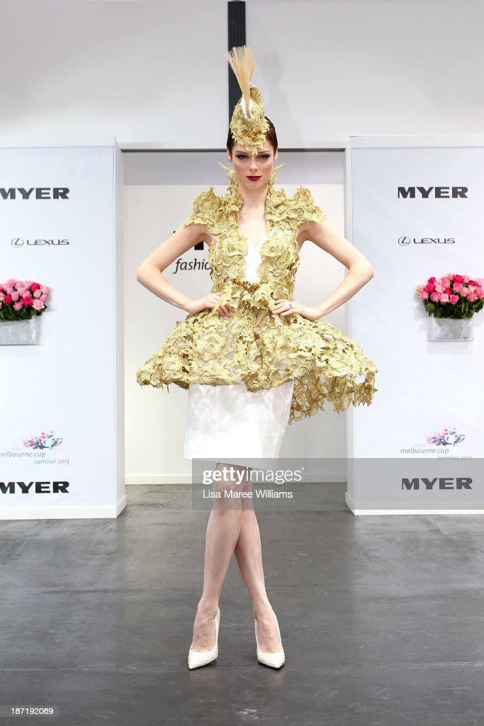 Model Coco Rocha poses during Oaks Day at Flemington Racecourse on November 7, 2013 in Melbourne, Australia.