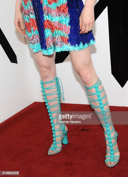 Model Coco Rocha shoe detail poses backstage for the Christian Siriano fashion show during New York Fashion Week at the Grand Lodge on February 10...