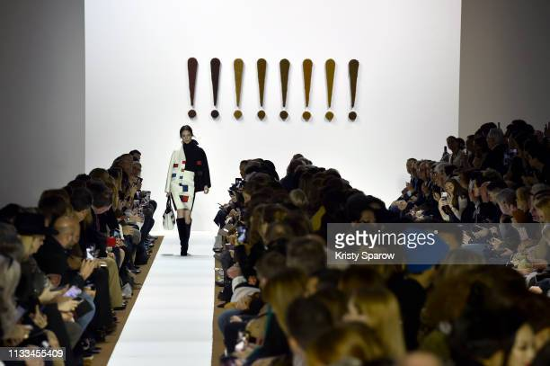 Model Coco Rocha walks the runway during the Akris show as part of Paris Fashion Week Womenswear Fall/Winter 2019/2020 on March 03, 2019 in Paris,...