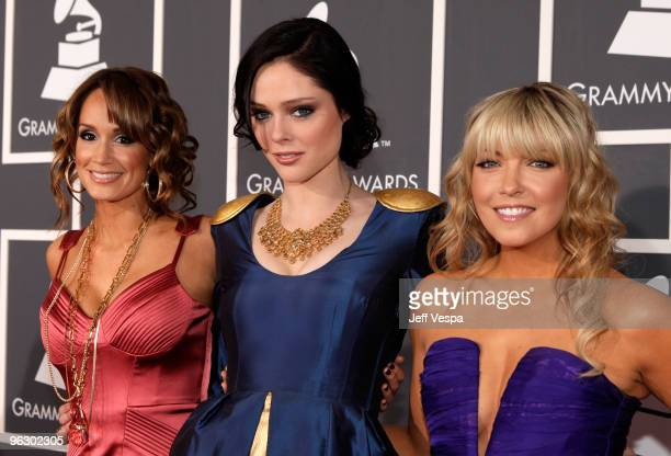 Model Coco Rocha with TV personalities Kim D'Eon and Cheryl Hickey arrive at the 52nd Annual GRAMMY Awards held at Staples Center on January 31 2010...
