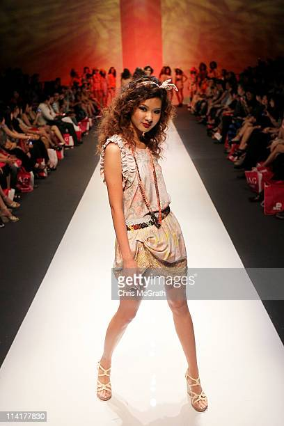 A model competes in the CLEO Runway Search show during Audi Fashion Festival Singapore 2011 at Tent@Orchard on May 14 2011 in Singapore