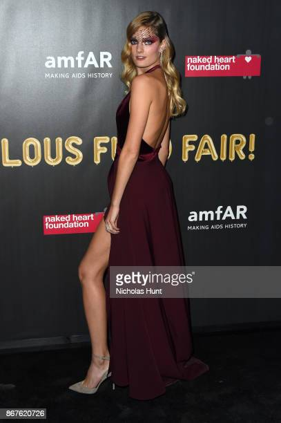 Model Constance Jablonski attends the 2017 amfAR The Naked Heart Foundation Fabulous Fund Fair at Skylight Clarkson Sq on October 28 2017 in New York...