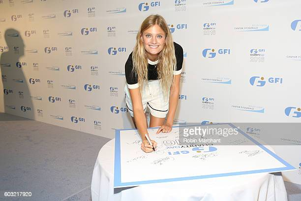 Model Constance Jablonski attends the Annual Charity Day hosted by Cantor Fitzgerald BGC and GFI at GFI Securities on September 12 2016 in New York...