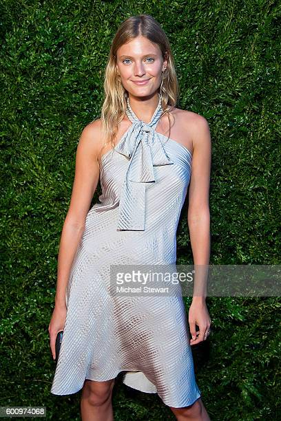 Model Constance Jablonski attends the Saks Downtown x Vogue event at Saks Downtown on September 8 2016 in New York City