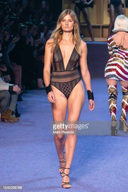 Model Constance Jablonski walks the runway at the ETAM show as part of the Paris Fashion Week Womenswear Spring/Summer 2019 on September 25, 2018 in...