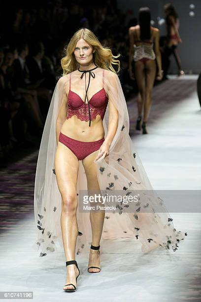 Model Constance Jablonski walks the runway during the Etam show as part of the Paris Fashion Week Womenswear Spring/Summer 2017 on September 27 2016...