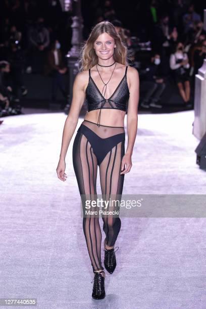 Model Constance Jablonski walks the runway during the Etam Womenswear Spring/Summer 2021 show as part of Paris Fashion Week on September 29, 2020 in...