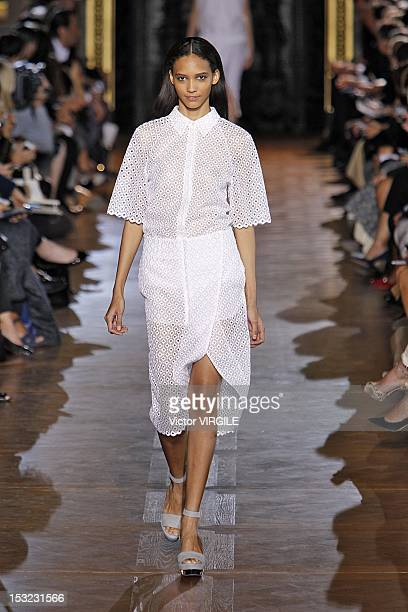 Model Cora Emmanuel walks the runway at the Stella McCartney Spring Summer 2013 fashion show during Paris Fashion Week on October 1 2012 in Paris...