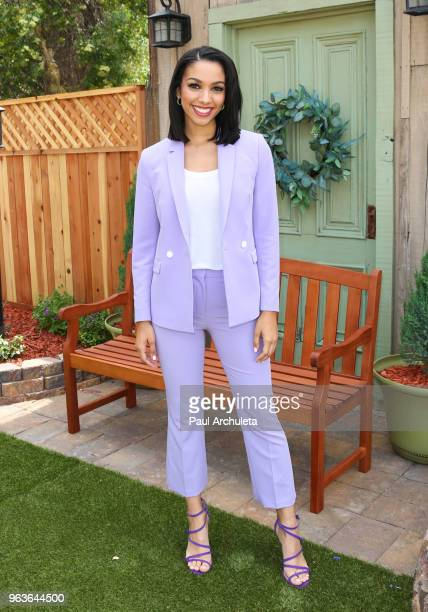 DJ / Model Corinne Foxx visits Hallmark's Home Family at Universal Studios Hollywood on May 29 2018 in Universal City California