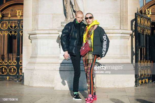 Model couple Finn Buchanan and Maxim Magnus after the Schiaparelli show during Couture SS19 Fashion Week on January 21 2019 in Paris France Finn...