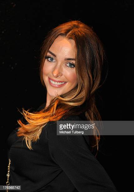 Model Courtney Bingham poses in front of The Roxy Theatre on June 11 2013 in West Hollywood California