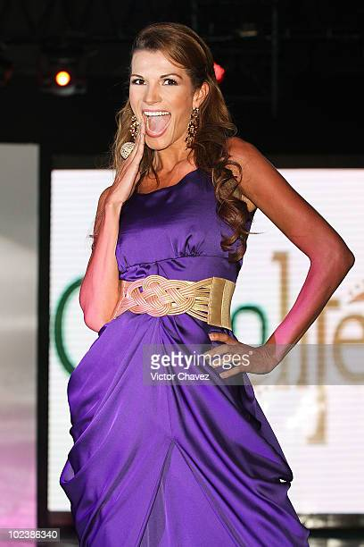 Model Cristina Bernal walks the runway wearing Stivens Palacios Beautiful Glass 2010 collection at Casino Life on June 23 2010 in Mexico City Mexico