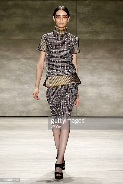 Model Cristina Piccone walks the runway at the Angel Sanchez fashion show during MercedesBenz Fashion Week Fall 2015 at The Pavilion at Lincoln...