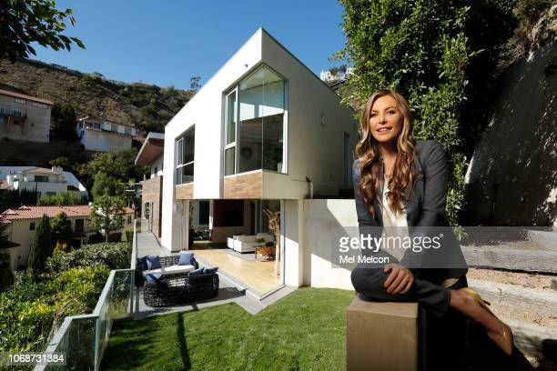 Model Crystal Hefner is photographed for Los Angeles Times on October 15 2018 outside a modern contemporary home in the Hollywood Hills in Los...