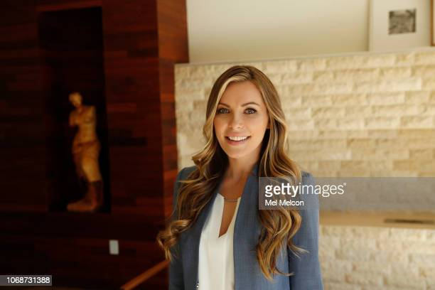 Model Crystal Hefner is photographed for Los Angeles Times on October 15 2018 in a modern contemporary home in the Hollywood Hills in Los Angeles...