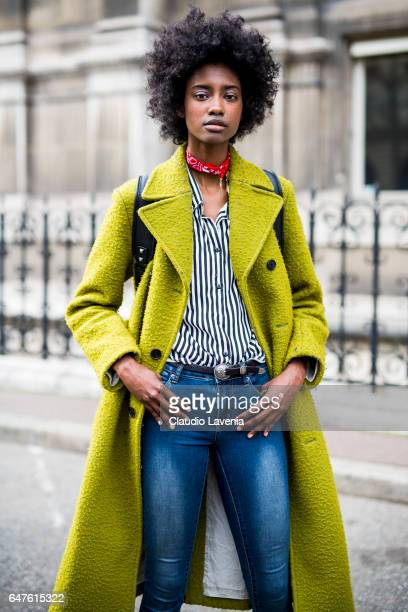 Model Crystal NorEIga is seen in the streets of Paris after the Issey Miyake show during Paris Fashion Week Womenswear Fall/Winter 2017/2018 on March...