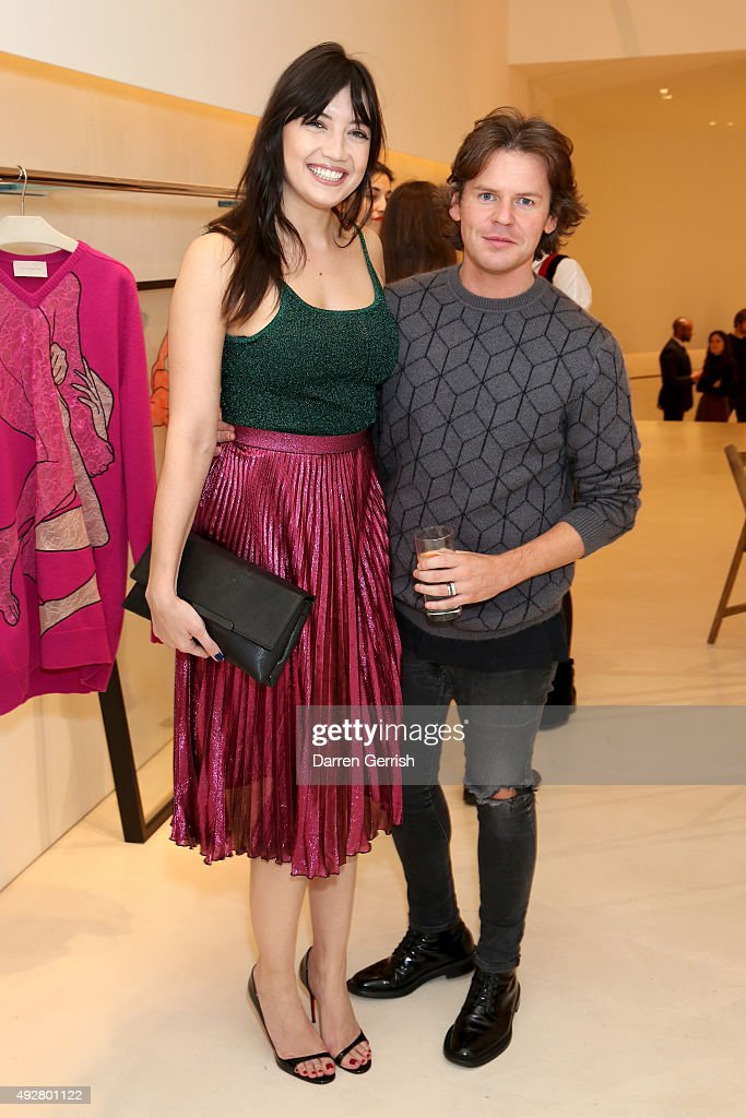 Model Daisy Lowe and designer Christopher Kane attend the Christopher Kane Art Class 2015 at Christopher Kane Flagship 6-7 Mount Street on October 15, 2015 in London, England.