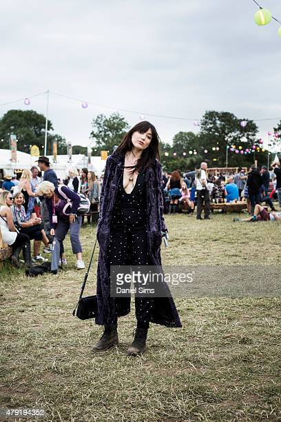 Model Daisy Lowe at the Glastonbury Festival at Worthy Farm Pilton on June 27 2015 in Glastonbury England