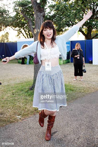 LONDON JULY 03 Model Daisy Lowe poses behind the main stage in the O2 VIP Lounge during Day One of the O2 Wireless Festival in Hyde Park on July 3...