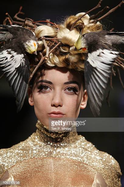 Model Daisy Lowe walks the runway at the Pam Hogg Show at London Fashion Week Autumn/Winter 2011 at Mercer Studios on February 20 2011 in London...