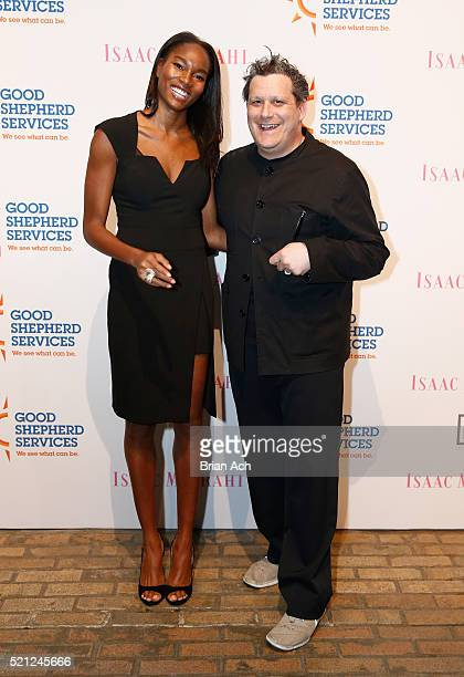 Model Damaris Lewis and host Isaac Mizrahi arrive at Good Shepherd Services Spring Party 2016 hosted by Isaac Mizrahi at Highline Stages on April 14...