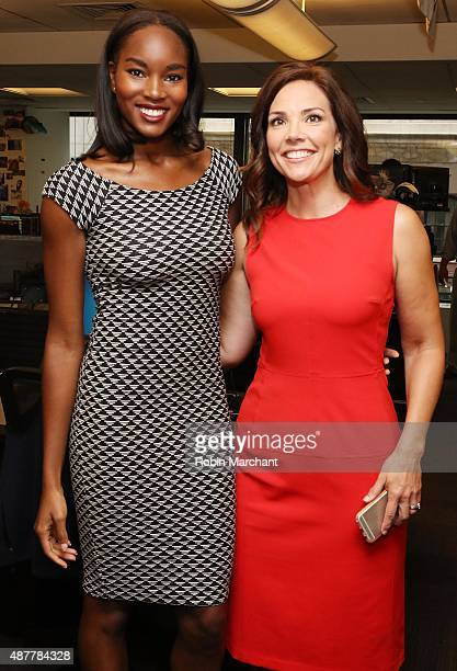 Model Damaris Lewis and journalist Erica Hill participate in the annual Charity Day hosted by Cantor Fitzgerald and BGC at Cantor Fitzgerald on...