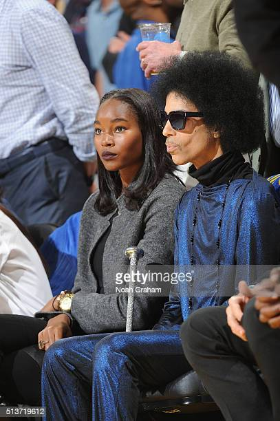 Model Damaris Lewis and Singer Prince takes in the game between the Golden State Warriors and the Oklahoma City Thunder on March 3 2016 at ORACLE...