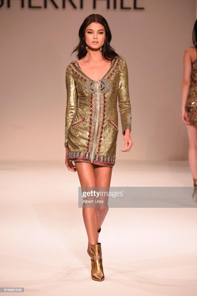 Model Daniela Braga walks the runway during the NYFW Sherri Hill Runway Show on February 9, 2018 in New York City.