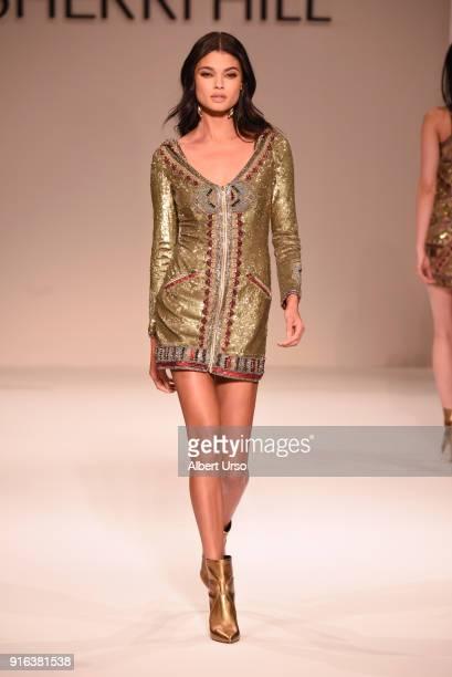 Model Daniela Braga walks the runway during the NYFW Sherri Hill Runway Show on February 9 2018 in New York City