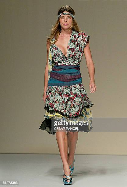 Model Daniella Ciccarelli girlfriend of Brazilian superstar Ronaldo wears a creation by Brazilian designer Tereza Santos during the SpringSummer 2005...