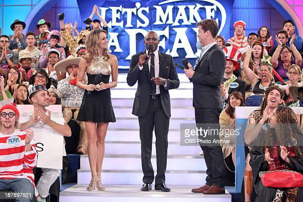 Model Danielle Demski host Wayne Brady and announcer Jonathan Mangum wrap up another show as they thank the audience and all the followers on Twitter...