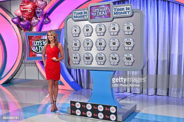 Model Danielle Demski stands prepared to help a Trader with the Time Is Money game on a special Valentines edition of LET'S MAKE A DEAL airing Friday...