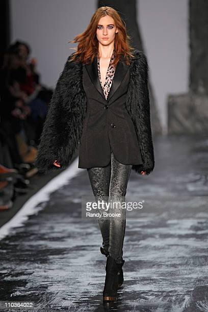 Model Danielle Hamm walks the runway at Miss Sixty during MercedesBenz Fashion Week Fall 2009 at The Tent in Bryant Park on February 15 2009 in New...