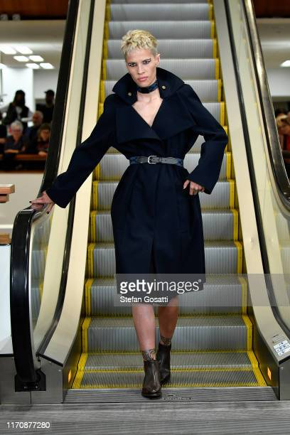 Model Danielle Hayes walks the runway during the Zambesi show during New Zealand Fashion Week 2019 at Auckland City Library on August 29 2019 in...