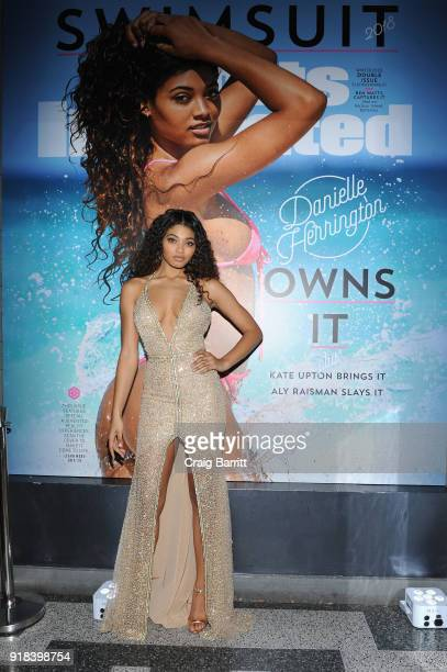 Model Danielle Herrington attends Sports Illustrated Swimsuit 2018 Launch Event at Magic Hour at Moxy Times Square on February 14 2018 in New York...