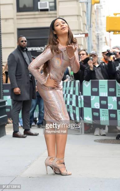 Model Danielle Herrington is seen leaving Aol Live on February 15 2018 in New York City